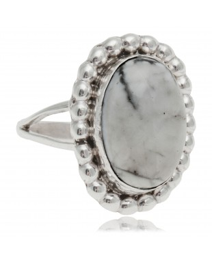 White Howlite .925 Sterling Silver Certified Authentic Navajo Native American Handmade Ring 26237