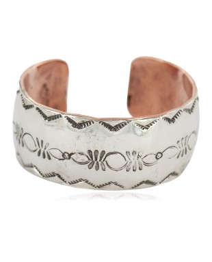 Wide Certified Authentic .925 Sterling Silver Handmade Navajo Native American Pure Copper Bracelet 24493-3