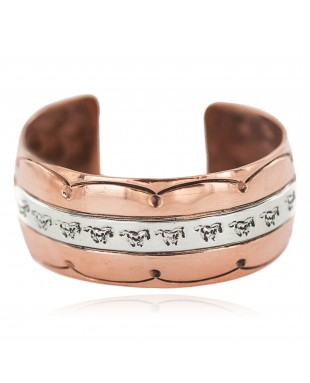 Wide Certified Authentic Navajo .925 Sterling Silver Handmade Horse Native American Pure Copper Bracelet 92006-3