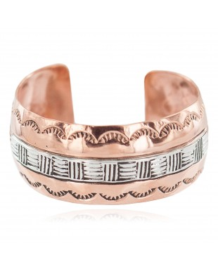 Wide Certified Authentic Navajo .925 Sterling Silver Handmade Native American Pure Copper Bracelet 92006-2