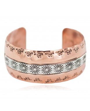 Wide Sun Horse Certified Authentic Navajo .925 Sterling Silver Handmade Native American Pure Copper Bracelet 92006-7