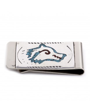 Wolf Head .925 Sterling Silver Certified Authentic Handmade Navajo Native American Natural Turquoise Coral Money Clip 11253-14