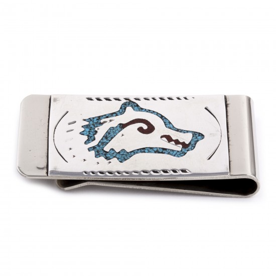 Wolf Head .925 Sterling Silver Certified Authentic Handmade Navajo Native American Natural Turquoise Coral Money Clip 11253-14 All Products NB180604225547 11253-14 (by LomaSiiva)
